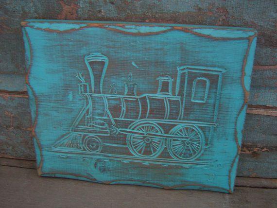 Hand Carved Train Turquoise Wood Distressed Wall Decor Nursery Boys Room. $14.00, via Etsy. Love this!
