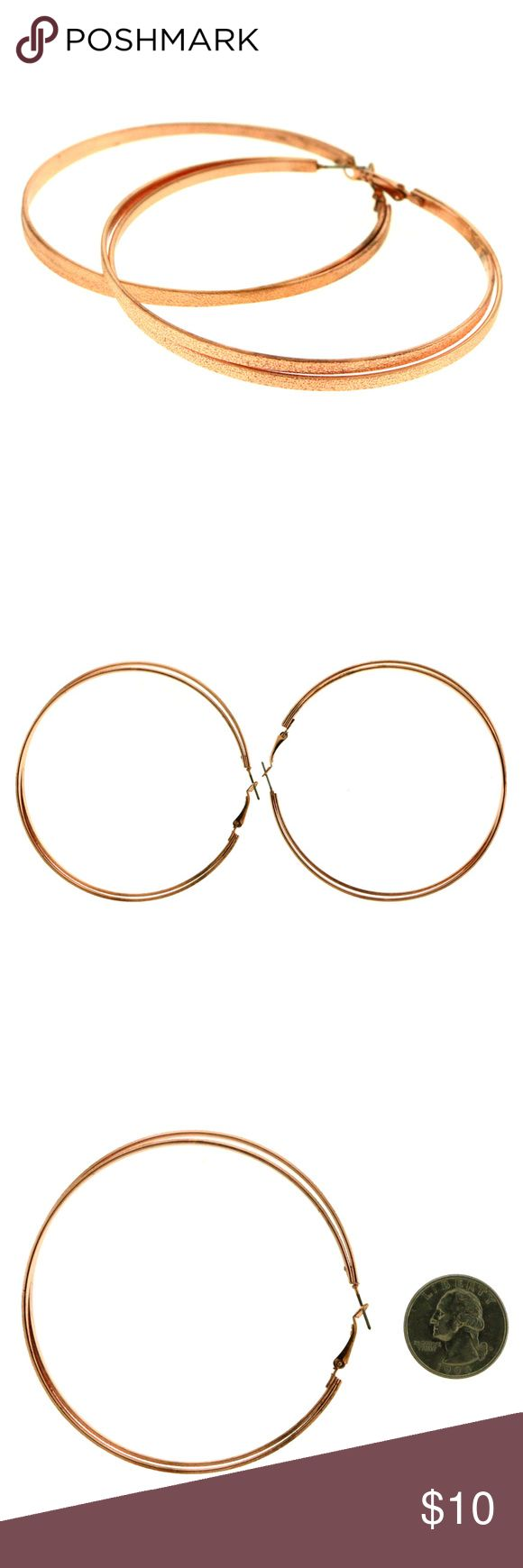 Large Rose GoldTone Double Hoop Earring For Women Large