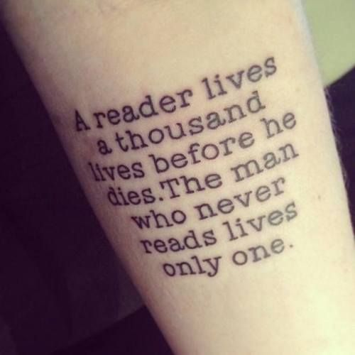 reading tattoo quote