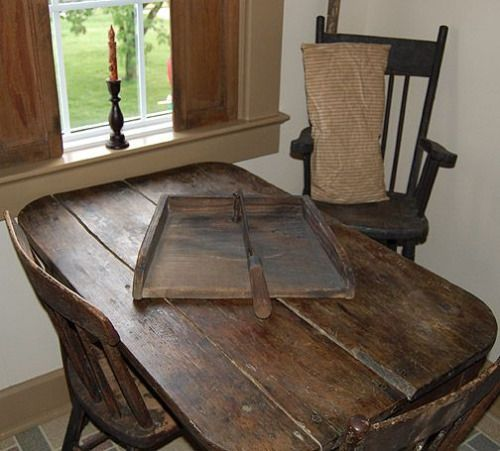 ive thought about painting the legs on my old dining table and remaking a top with old boards grandkids could supply the dings to make it look old - Primitive Kitchen Tables