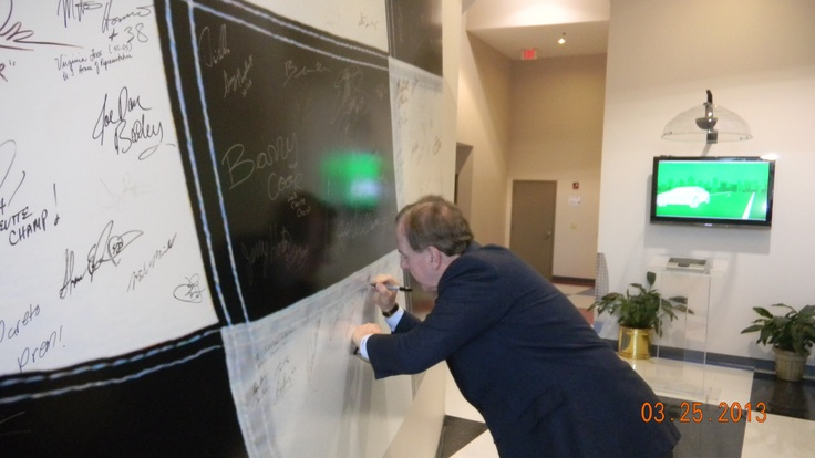 "A big thank you to Congressman Robert Pittenger for stopping by the NASCAR Technical Institute campus!! Congressman Pittenger is seen here signing the NASCAR Technical Institute ""Wall of Fame""! www.uti.edu"