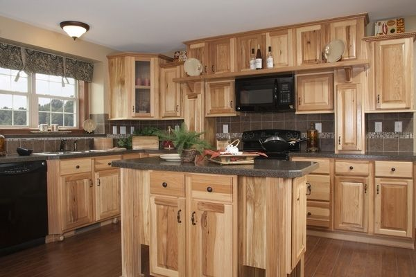 Gorgeous contrast between light and dark with hickory cabinets     gorgeous cabinets ideas island rustic decor
