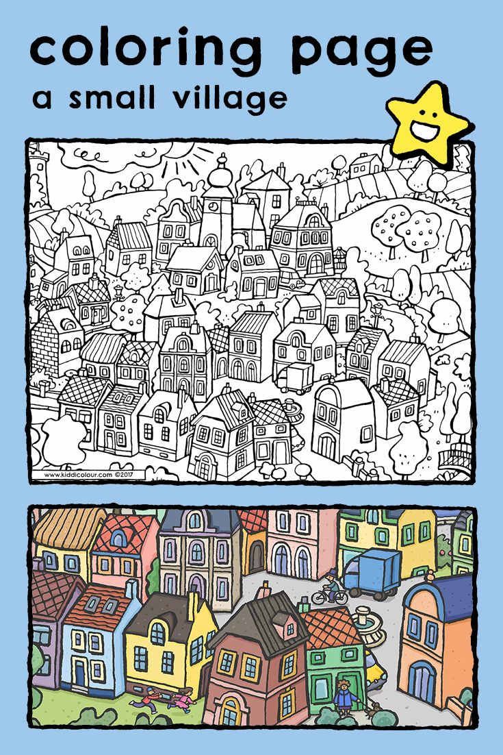 A Small Village Kiddicolour Coloring Pages Easy Coloring Pages Coloring Pictures