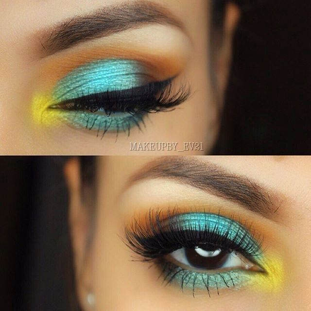 tropical + colorful summer #eye #makeup @makeupby_ev21: #turquoise on the lid, blended into orange, yellow inner corner highlight