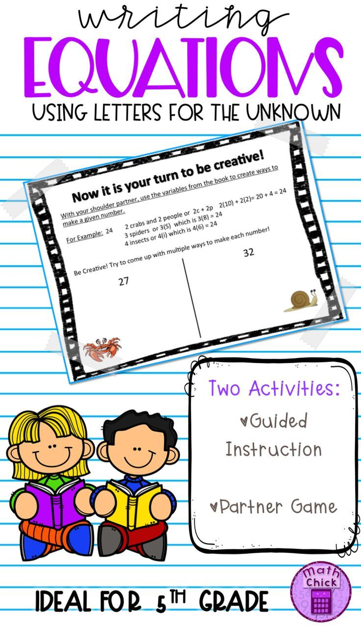 Writing Equations Using Letters For The Unknown Or Variables Teks 5 4b Writing Equations Google Classroom Activities Fifth Grade Math [ 1278 x 736 Pixel ]