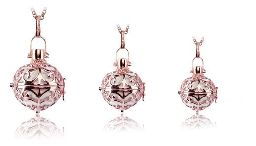 Silver Rhodium Plated Engeslrufer Cage Pendant with White Soundball: 16mm (R1299), 20mm (R1499), 24mm (R1699).  In Rose Plating: (R1699, R1899,R2199). In Gold Plating: (R1699, R1899, R2199).