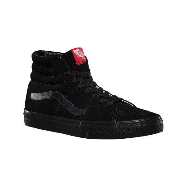 Vans Sk8-Hi - Black/Black Suede Skate Shoes ($60) ❤ liked on Polyvore featuring shoes, sneakers, black, black skate shoes, suede high top sneakers, skate shoes, black hi top sneakers and grip trainer
