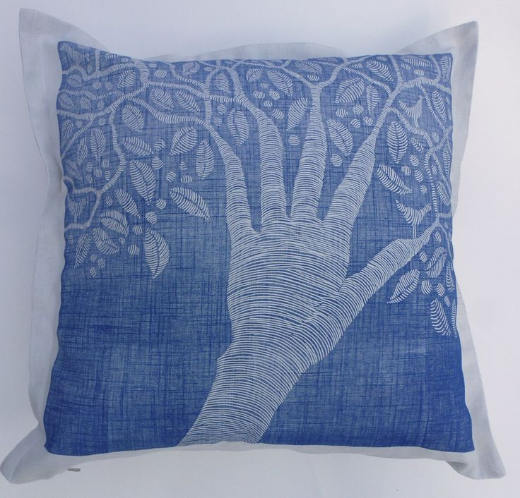 decorative pillow, linocut, creative people, artists, home interior, tree, leaf, bird, hand, inspirational art, cushion cover, nature, blue by cushioncushion on Etsy