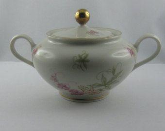 10% vendita: porcellana antica pentola di zucchero / sugar bowl. Porcellana di Bavaria Wunsiedel dalla Germania. Decoro floreale. Vernice oro. VINTAGE