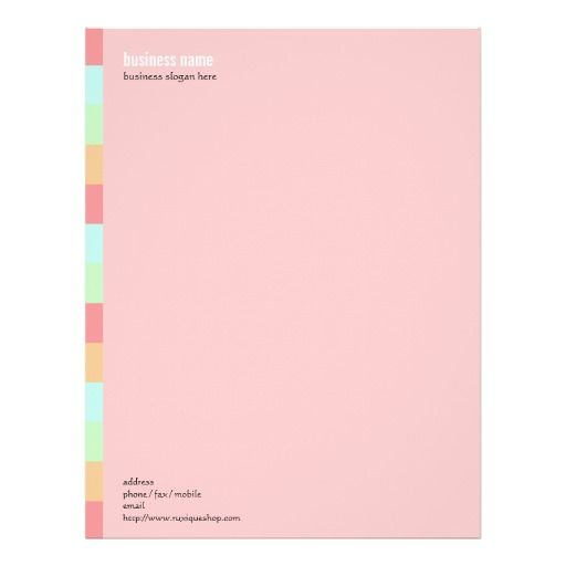 Plain Elegant Modern Simple Colored Stripe on Pink Custom Letterhead