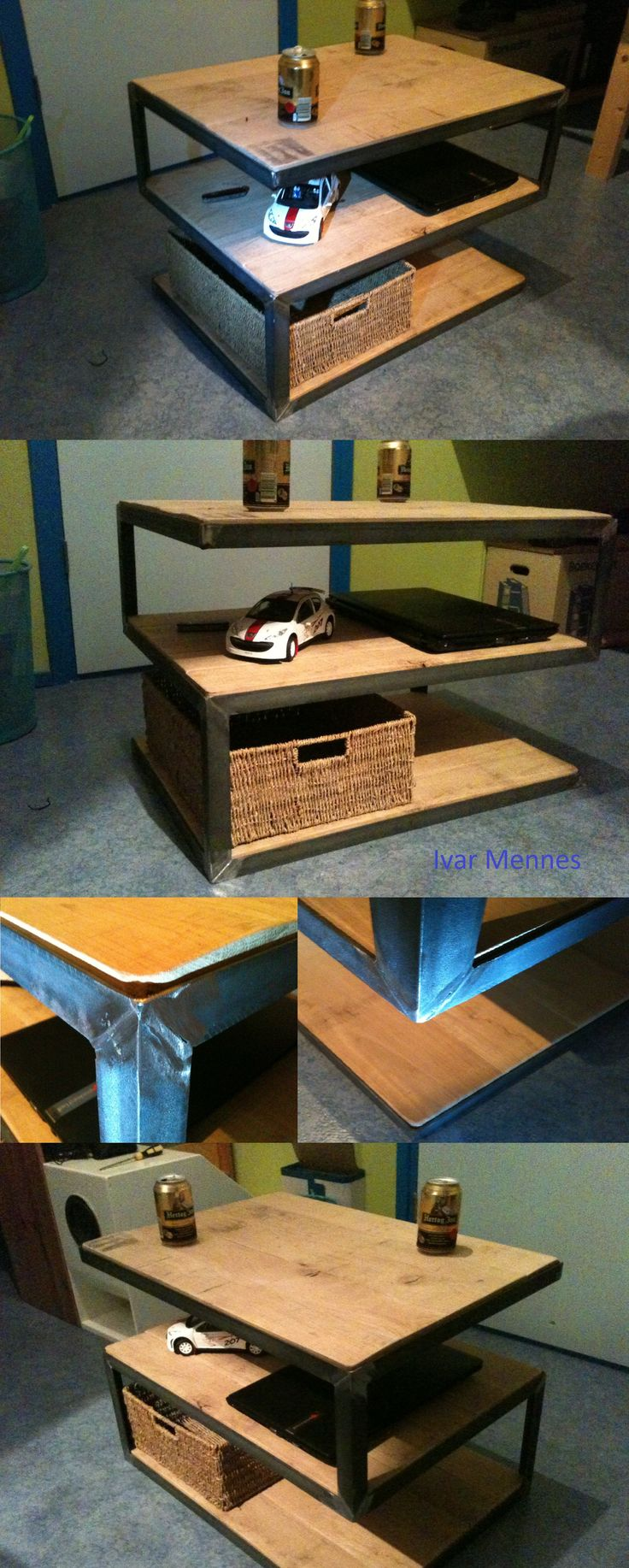 This rustic heavy coffee table is made using steel and oak wood. I think it would look great in both mancave and disign interior.