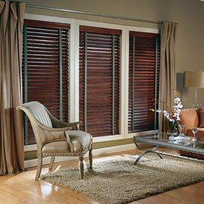 wooden blinds + curtains - like this look for den/office/media room