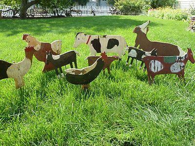 9 Primitive Folk Art Wood Yard Art Animals Plywood Horse Rooster Rabbit Cow
