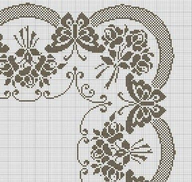 Beautiful tablecloth with butterflies and bouquets of roses.   The center's clean but they are richly decorated ends.   For this tableclo...