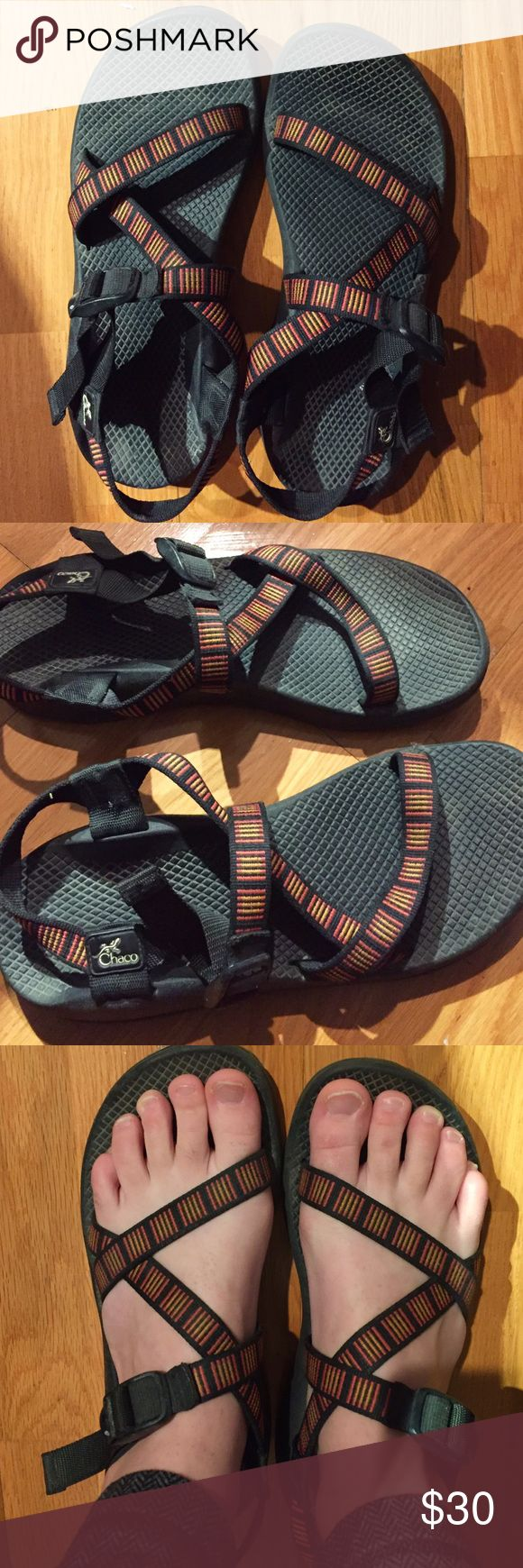 ⚡️SALE⚡️Women's chacos Worn for one summer. Great for summer hikes or as water shoes. The soles and straps are still in excellent condition. Selling because they are too big. (I don't have pregnant feet anymore 😉) Chaco Shoes Sandals