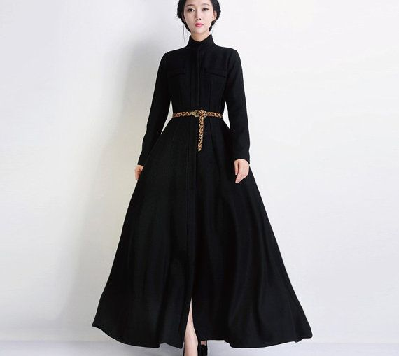 Winter Black Wool Coat Woolen Overcoat Formal Gown Outerwear Long Casual Jacket Wedding Bridesmaid Full Pleated Tunic Maxi Dress Trench Coat