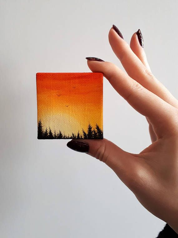 """TITLE // """"Sunset Forest"""" SIZE // 2 inch x 2 inch, 1 cm thick MEDIUM // Professional grade acrylics on stretched canvas. It is finished with a matt varnish. OPTIONS // If you want this miniature painting turned into a magnet you can select that option in the drop down menu. You can also"""