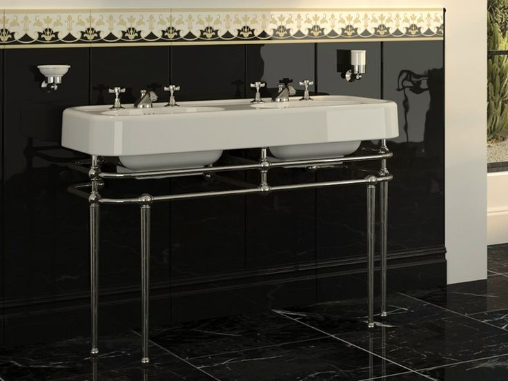 Console double washbasin with towel rail MEMPHIS by Devon
