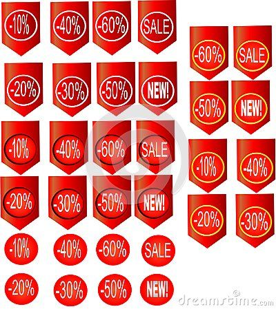 Sale icons set in red circle isolated on red label. Vector illustration.