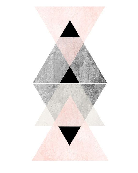 Affiche Scandinave Geometric Wall Art Pink And Grey Art