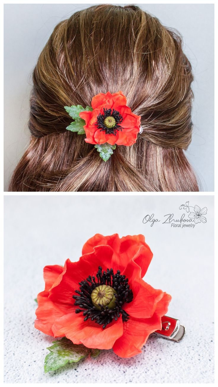red poppy hair clip realistic flower