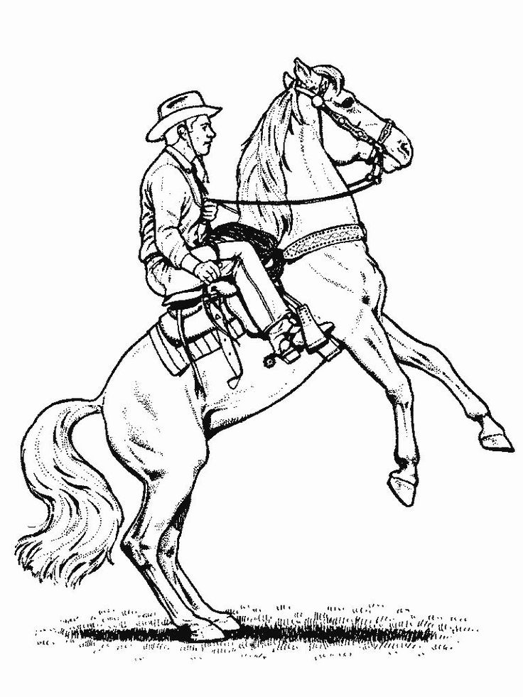 cowboy horse coloring pages kids