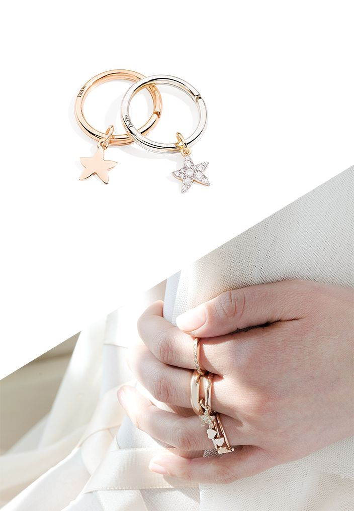This autumn, let yourself be carried away by the stars. Combine the rose gold and rose gold with diamond Starfish charms with the brisé rings and start dreaming.