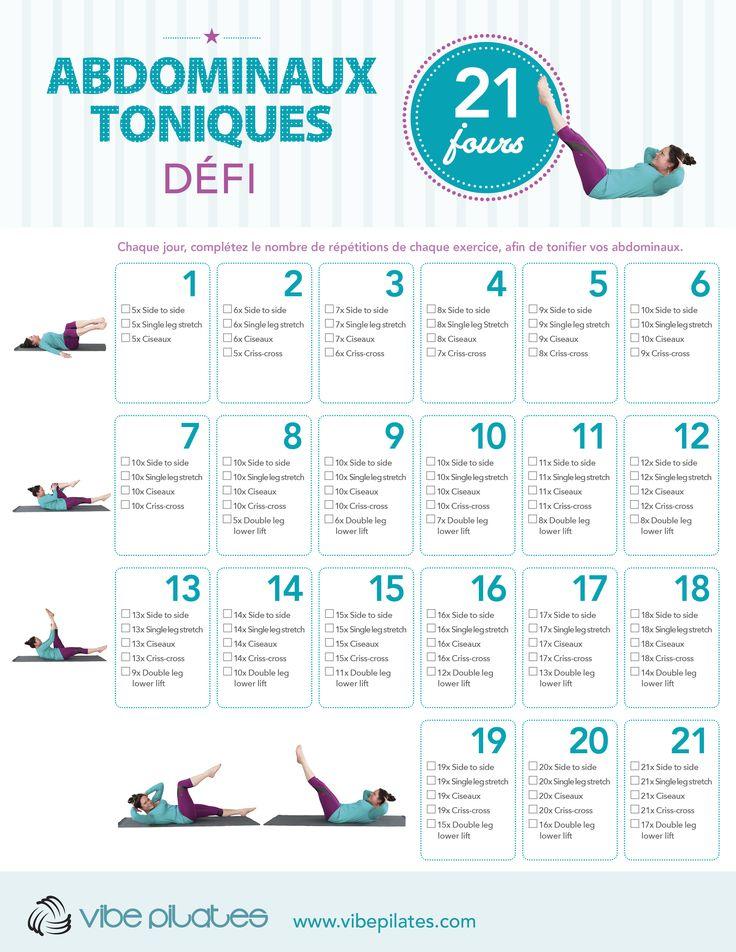 Chaque jour, complétez le nombre de répétitions de chaque exercice, afin de tonifier vos adominaux