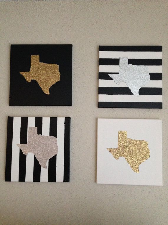 Black and white striped 12X12 canvases with gold and silver Texas (set of 4)