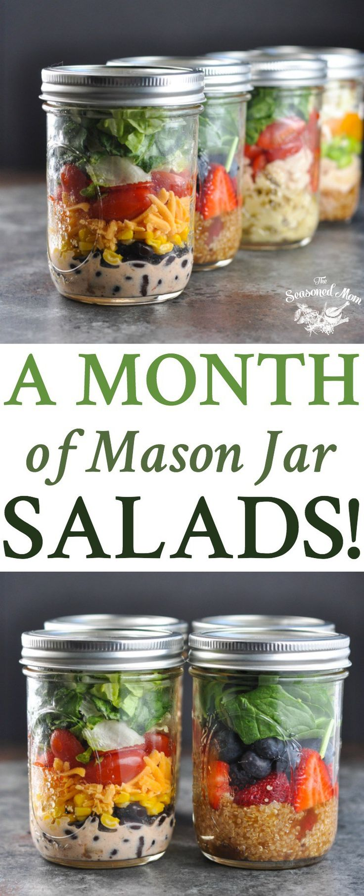 A Month of Mason Jar Salads! Meal Prep   Salad Recipes   Meal Prep for the Week   Meal Prep Recipes   Healthy Lunch Recipes   Lunch Ideas   Healthy Recipes   Healthy Dinner Recipes   Mason Jar Meals