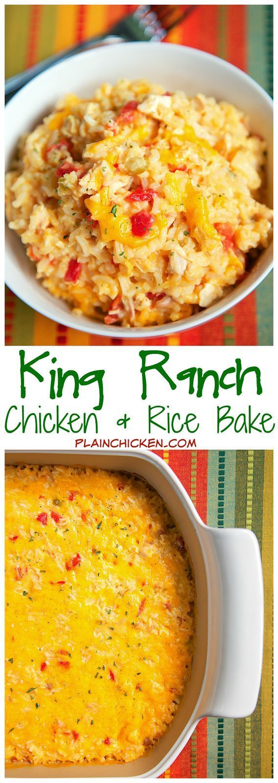 King Ranch Chicken and Rice Bake Recipe - chicken, rice, chicken soup, R-otel, Velveeta - SO good! Ready in under 30 minutes. I wanted to eat the entire pan myself!
