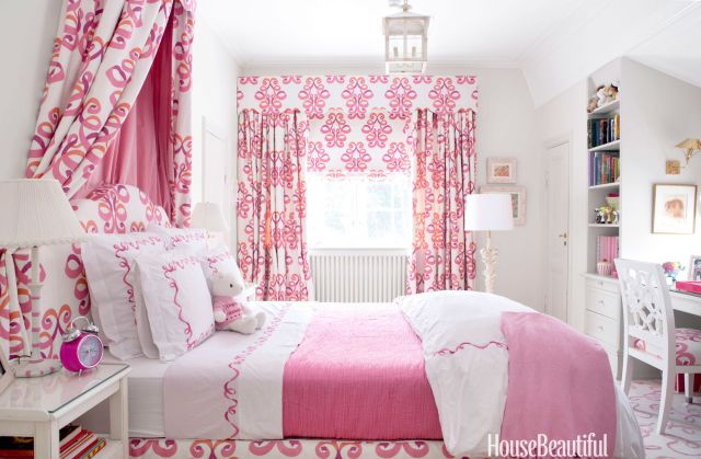 In Nicolette Horn's Norwegian house, daughter Olympia's pink bedroom was decorated with Lee Jofa Belgravia fabric.   - HouseBeautiful.com