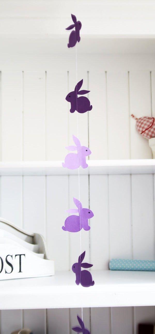 Eine wunderschöne einfache Bastelidee zu Ostern- die DIY Hasen- Girlande. Perfekt auch für Kinder geeignet!