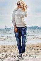 Женский теплый свитер Гольф молоко 0751