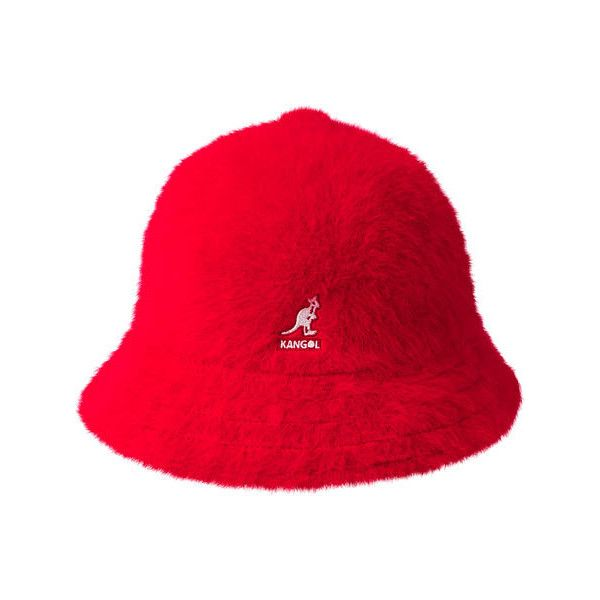 Kangol Furgora Casual Bucket Hat - Scarlet ($65) ❤ liked on Polyvore featuring accessories, hats, red, fisherman hat, fur hat, fishing hat, bucket hat and sports hats