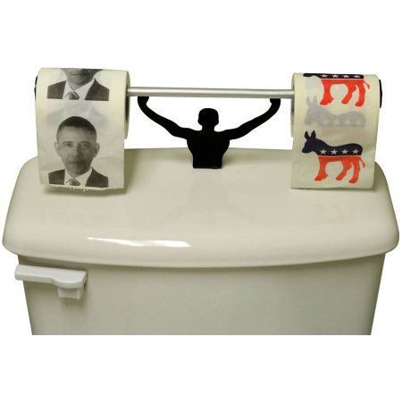 Fairly Odd Novelties Democratic President Barack Obama Toilet Paper with Strong Man Holder Gift Set