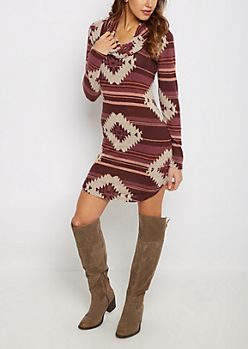 Pink Southwest Cowl Neck Sweater Dress | rue21