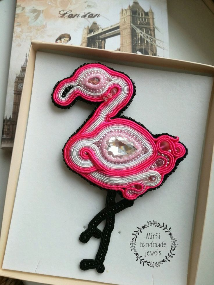 Neon pink soutache flamingo brooch with Swarovski cabochons and pink seed beads