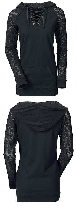 Take the lace look to a new level with this baby. Midnight Wanderer Top features lace up design and lace sleeves. Shop this look at CUPSHE.COM !