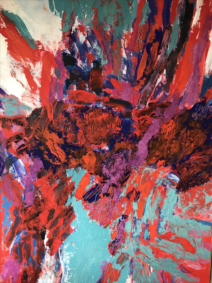 Abstract oil painting in tempera. Det Sangvinske Temperament 1991. Utstilt på Henie-Onstad Kunstsenter 15.8-25.10.1998 Kunstnerforbundet oktober 1992