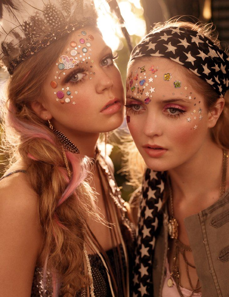 Going to Glastonbury this weekend ? Go wild with bold make-up and use glitter, stencils and face paint for a unique look