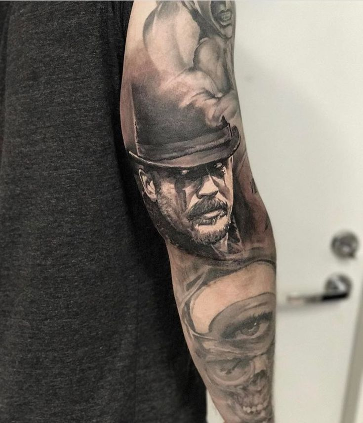 Tattoo of Tom Hardy as James Keziah Delaney (Taboo) - tattoo by: JP Wikman - Tampere, Finland