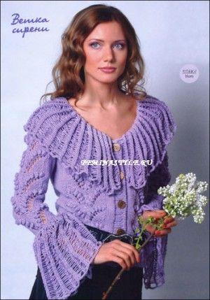 Сиреневая кофточка ,связанная спицами и крючком. http://feminastyle.ru/blog/Domovodstvo/Rukodelnica/596076_Sirenevaya_koftochka_svyazannaya_spicami_i_kryuchkom.html