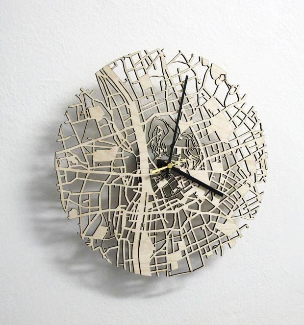 personalized wall clock based on your favorite city layout. awesome