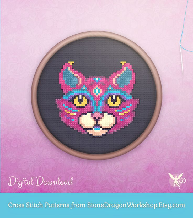 "Looking for a fun new cross stitch project? Get MYSTIC CAT from Stone Dragon Workshop on Etsy! These decorative & modern patterns produce pretty finished stitches & fit perfectly in a 6"" hoop on 14 ct aida. Each pattern is designed using a small, but effective DMC floss colour palette, making them fun & easy to stitch - perfect for seasoned stitchers & beginners alike!"