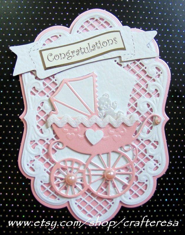 luxury, card topper, new baby, congratulations, scrapbookiing, elegant frame, die cut pram, white, pink blue. £3.25, via Etsy.