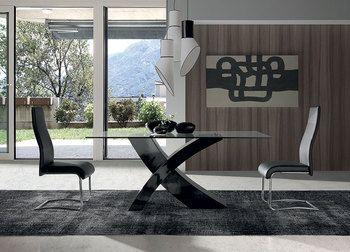Table de salle manger design rectangualaire avec plateau for Table salle a manger noir et blanc