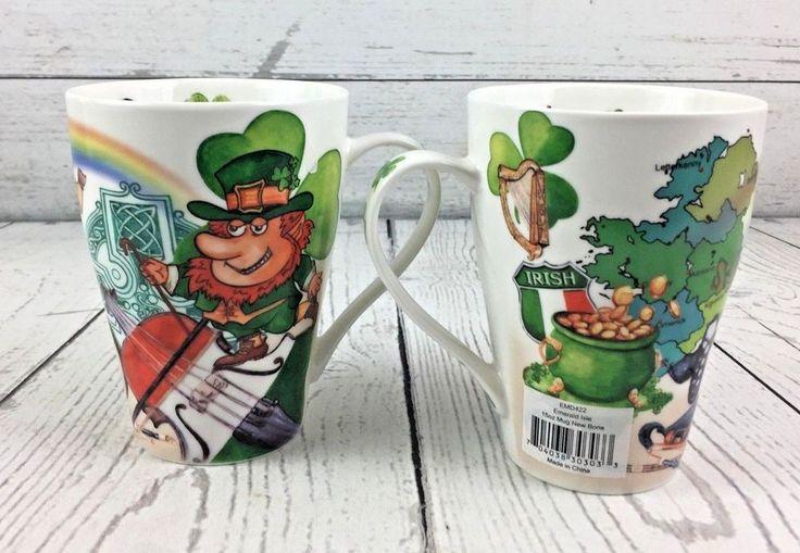 Two Cardew Design Emerald Isle Mugs Irish Leprechaun St. Patrick Pot of Gold  #CardewDeaign