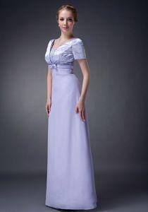 Bowknot V-neck Bead Sleeves Florence Alabama Dress for Bride Mother