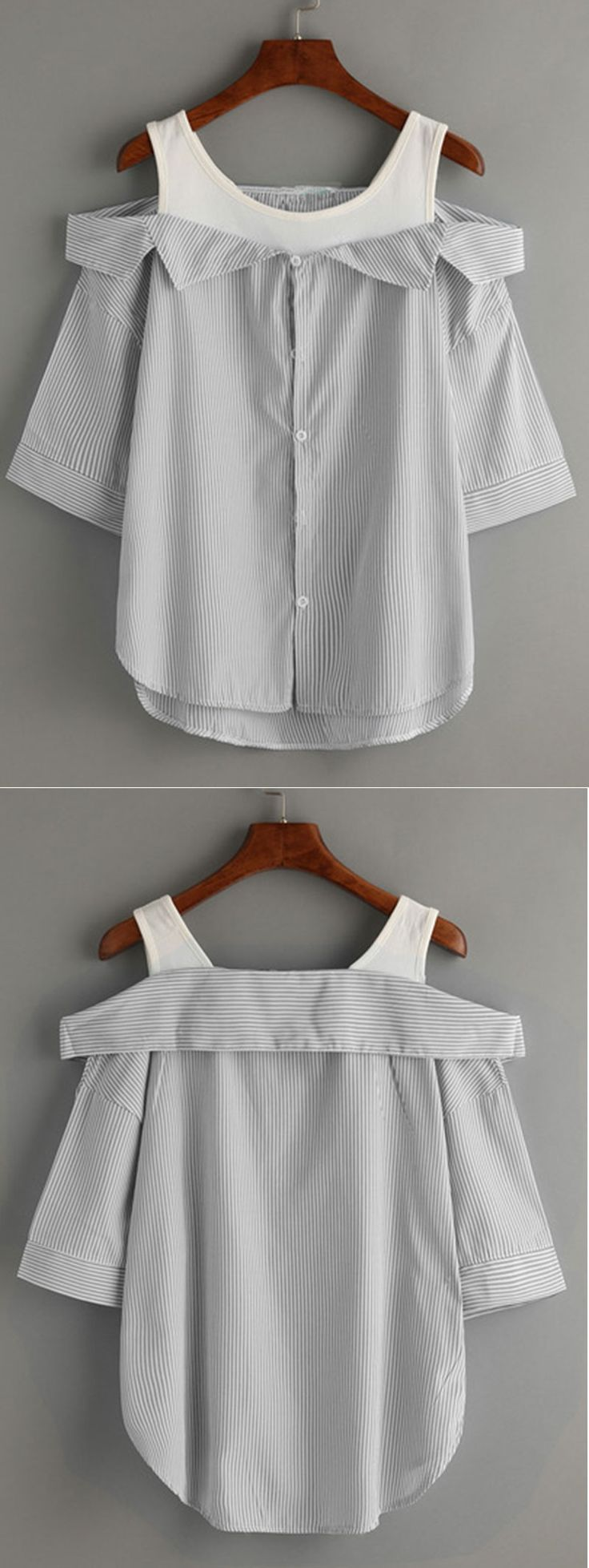 I need this with my denim skirt, lovely! Grey Striped Fold Over Cold Shoulder Blouse. love SHEIN